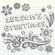 Stock Vector: Season's Greetings Winter Sketchy Notebook Doodles