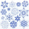 Snowflakes Winter Holiday Sketchy Notebook Doodles — Stock Vector