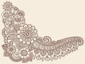 Henna Mehndi Pasiley Flowers Doodles Vector — Stock Vector