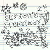 Season's Greetings Winter Sketchy Notebook Doodles — Stock Vector