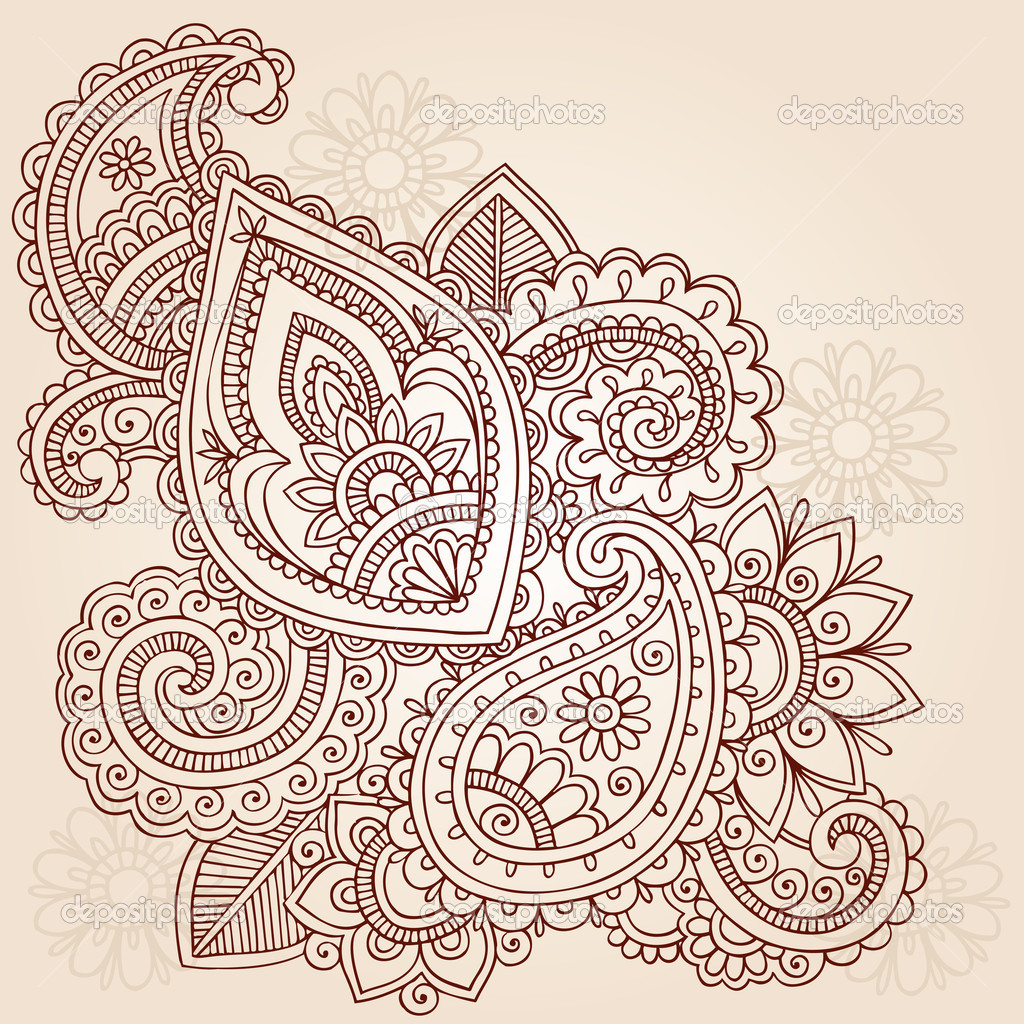 Hand-Drawn Abstract Henna Mehndi Paisley Floral Tattoo  Doodles Vector Illustration Design Elements  — Stock Vector #7898830