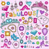 Princess Notebook Doodles Vector Illustration Design Elements — Stock Vector