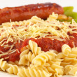 Royalty-Free Stock Photo: Rotini Pasta with Tomato Sauce, Cheese, and Sausage with Peppers and Onions