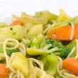 Stir Fried Vegetables and Noodles in a Light Sauce — Stock Photo