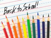 回学校用彩色铅笔在衬砌干擦板上写 — 图库照片