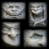 Gargoyle Statue Collage with a Dark Border — Stock Photo