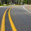 Curved Two Lane Country Road Winding Through a Forest -  