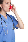 Asthma Inhaler Nurse — Stock Photo