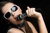 Microphone Woman — Stock Photo