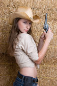 Country Gun Girl — Stock Photo