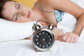 Alarm Clock Bed — Stock Photo