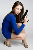Woman Holding Gun — Stok fotoğraf