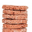 Stack of frozen hamburgers — Stock Photo