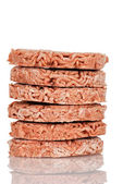 Stack of frozen hamburgers — Stock Photo