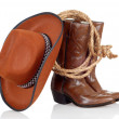 Cowboy boots hat and lasso — Stock Photo #7091508