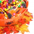 Top view halloween candy bowl — Stock Photo