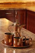 Antique copper set focus on jug — Stock Photo