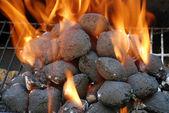 Closeup charcoal barbecue briquettes — Stock Photo