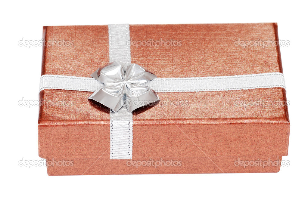 Isolated silver and copper Christmas present — Stock Photo #7249018