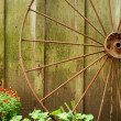 图库照片: Closeup old wagon wheel