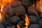 Macro charcoal barbecue briquettes — Stock Photo