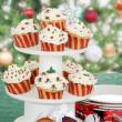 Christmas cupcake on cake tier — Stock Photo