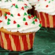 Closeup christmas tree cupcake — Stock Photo