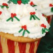 Closeup of christmas holly cupcake — Stock Photo