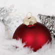 Red and silver christmas ornaments — Stock Photo