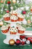 Christmas cupcake on cake tier — Stock Photo