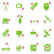Royalty-Free Stock Vector Image: Wireless devices icons - green-red series