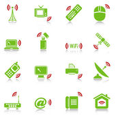 Wireless devices icons - green-red series — Stock Vector
