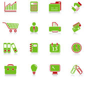 Business icons - green-red series — Stock Vector