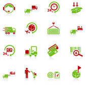 Logistics icons - green-red series — Stock Vector