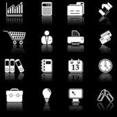 Zakelijke pictogrammen - zwarte serie — Stockvector
