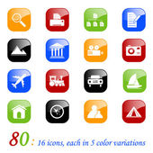 Photo and travel icons - color series — Stock Vector