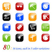 Travel icons - color series — Stock Vector