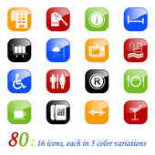 Hotel icons - color series — Stock Vector