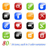 Wireless technology icons - color series — Stock Vector