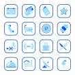 Hotel icons - blue series — Stock Vector