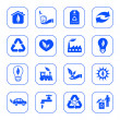Environmental icons - blue series — Stock Vector