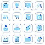 Zakelijke pictogrammen - blauwe reeks — Stockvector