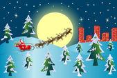 Santa Claus with Reindeers — Stock Vector