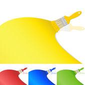 Pędzle z farbą — Wektor stockowy
