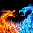 Blue and red fire Dragons - Stock Vector