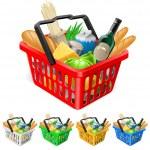 winkelmandje met voedingsmiddelen — Stockvector
