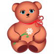 Little teddy bear with flower. — Stock Vector