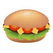 Hamburger mit Käse und Tomaten — Stockvektor