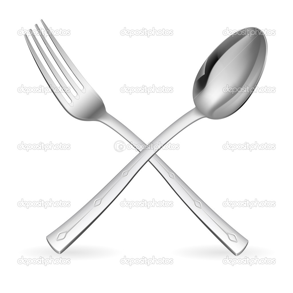 Crossed fork and spoon. Illustration on white background. — Stock Vector #6812016