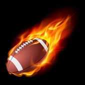 Realistic American football in the fire — Stock Vector